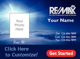 Remax business card design templates real estate printfirm remax business card template with sky background colourmoves
